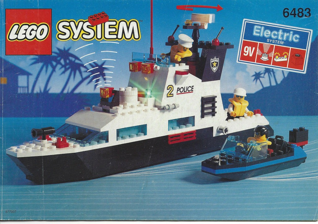 lego bauanleitung instruction von 6483 polizei schiff light sound ebay. Black Bedroom Furniture Sets. Home Design Ideas